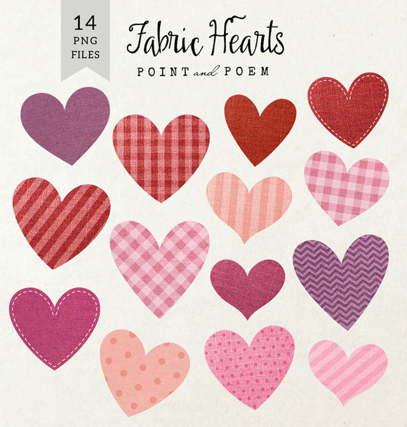 Fabric Hearts Clipart