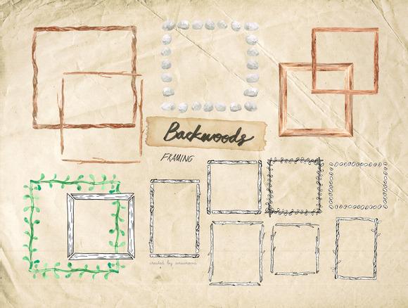 BACKWOODS Frames Watercolor Vector