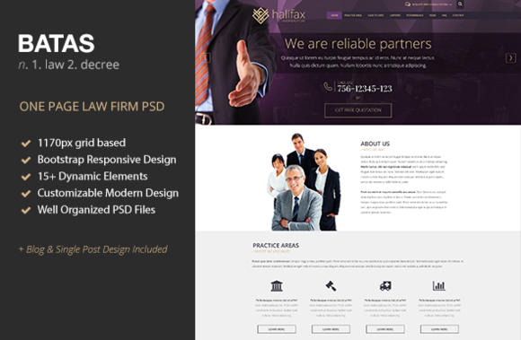 Batas One Page Law Firm PSD Theme