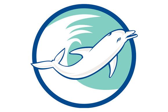 Dolphin Jumping Waves Circle Retro