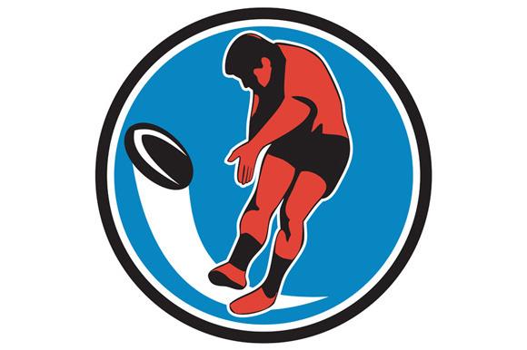Rugby Player Kicking Ball Circle Ret