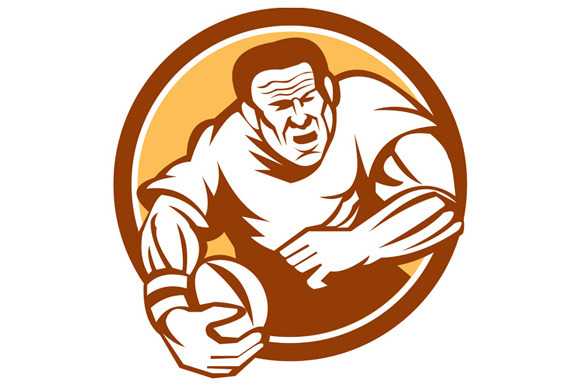 Rugby Player Running Ball Circle Lin