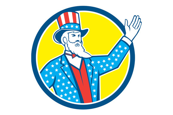 Uncle Sam American Hand Up Circle Re