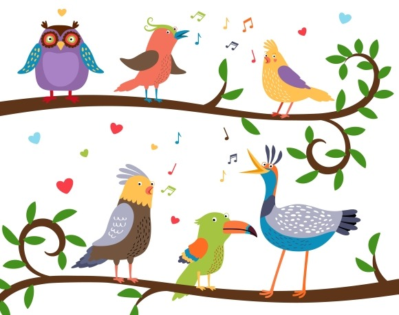 Singing Birds On Tree Branches