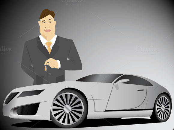 Car Owner Vector Illustration