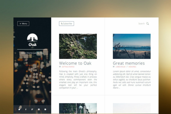 Oak Clean Responsive Ghost Theme
