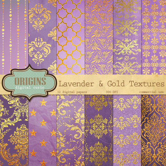 Lavender And Gold Textures