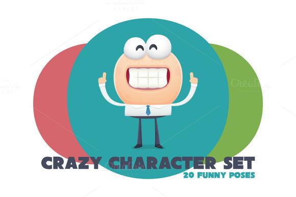 Funny Cartoon Crazy Character