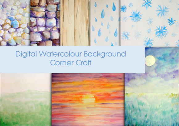 Watercolor Nature Background Set1