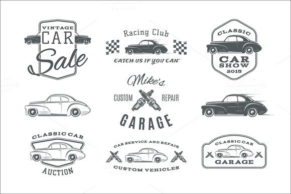 Vintage Classic Car Service Labels