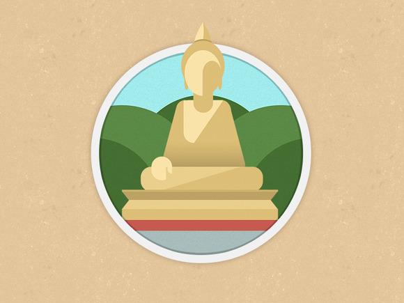 Flat Buddha Icon