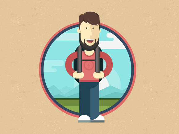Flat Tourist Illustration Icon