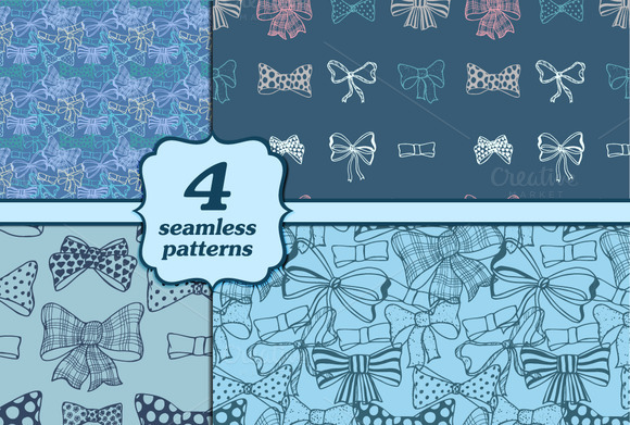 Set Of Bows Hand Drawn Patterns