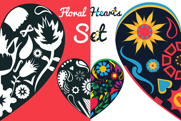 Floral Hearts And Frames Set