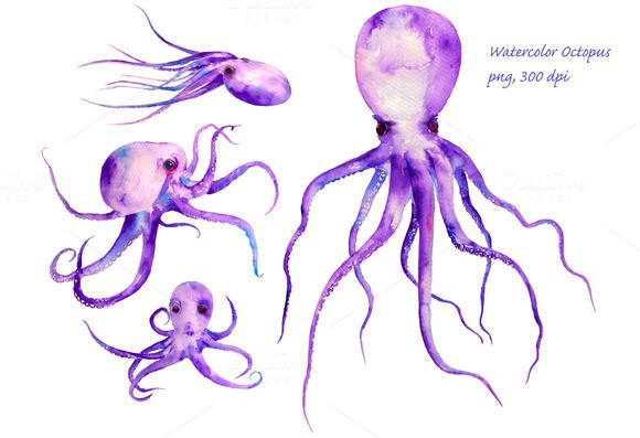 Watercolor Purple Octopus Clipart