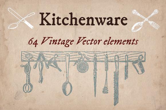 64 Vintage Kitchenware Elements