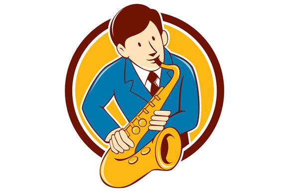 Musician Playing Saxophone Circle Ca