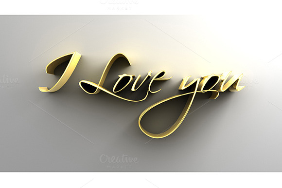 I Love You Gold 3D Text