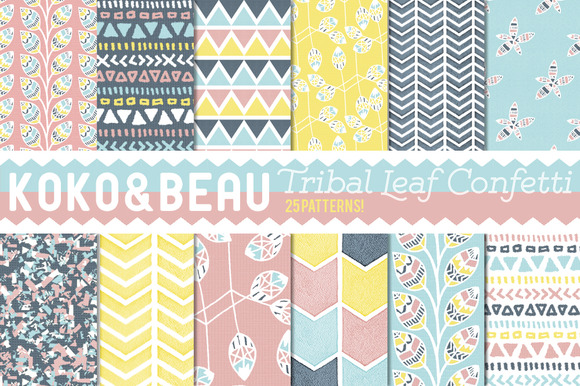 25 Tribal Leaf Confetti Patterns