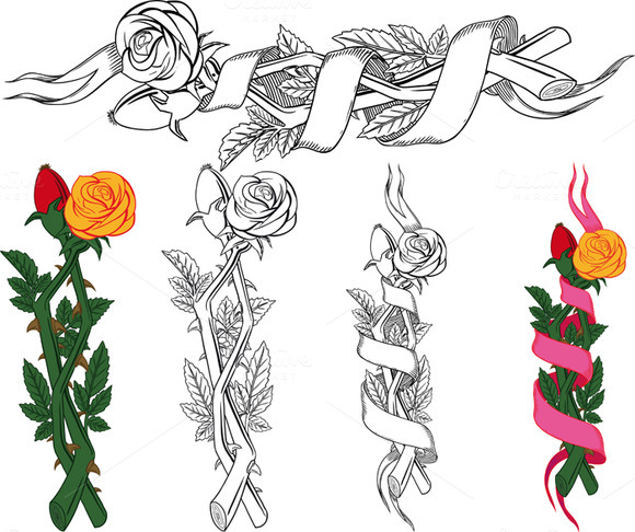 Woven Branches Roses And Dog Rose