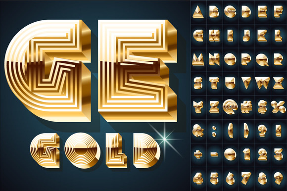 Extra Beveled Golden Font Collection