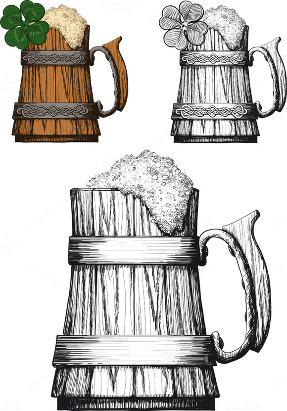 Wooden Mug Of Beer With Foam Irish