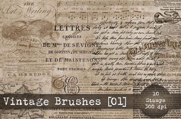 Vintage Brushes Set 01