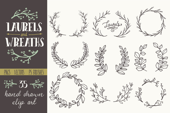 Whimsical Laurels Wreaths Clip Art