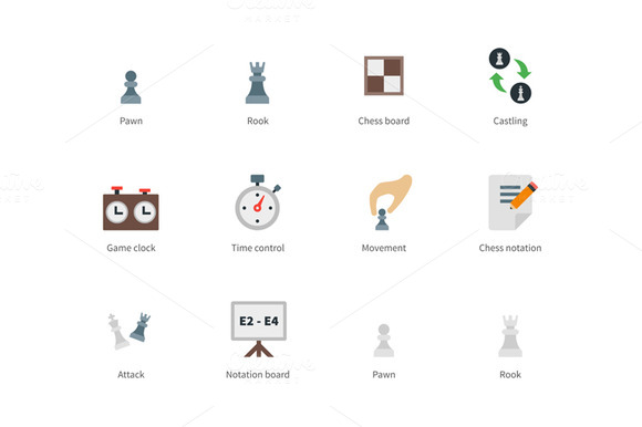 Chess Colored Icons On White