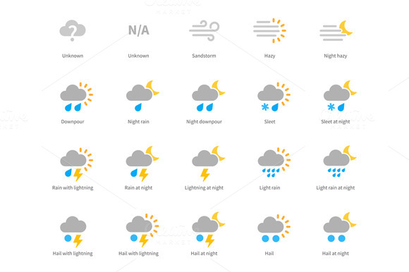 Meteorology Colored Icons On White B