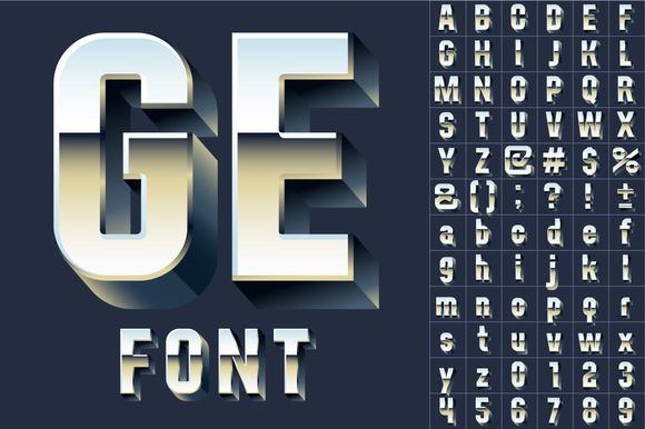 Silver Chrome 3D Font