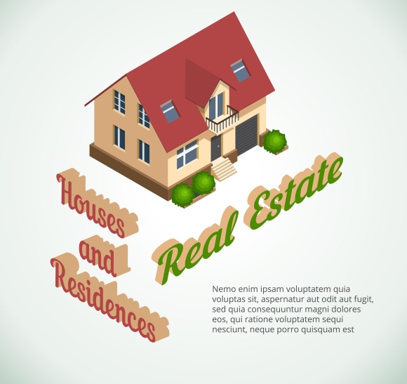 Vector Flat 3D Real Estate Poster
