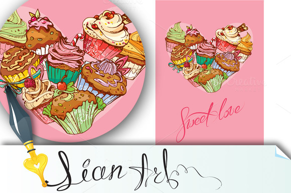 Holiday Card With Sweet Cupcakes
