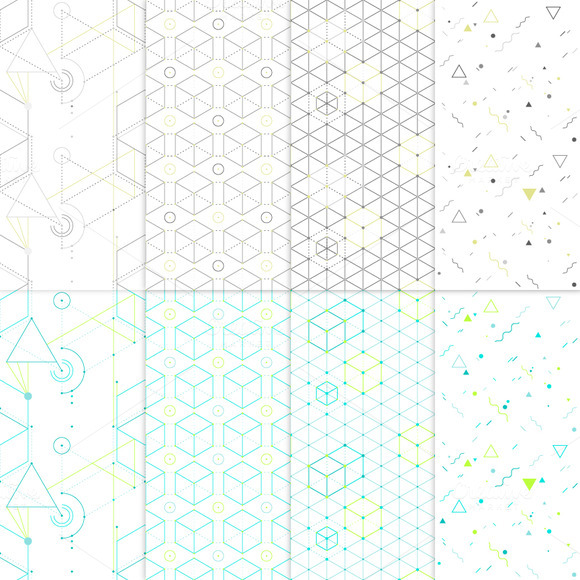 8 Hip Geometric Seamless Patterns