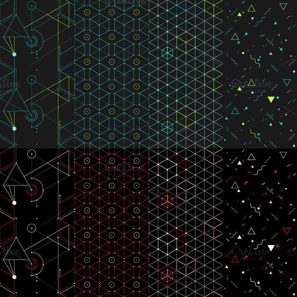 8 Hip Geometric Seamless Patterns