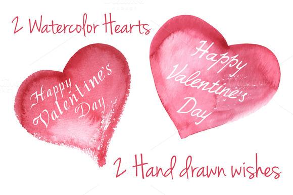 2 Watercolor Vector Hearts
