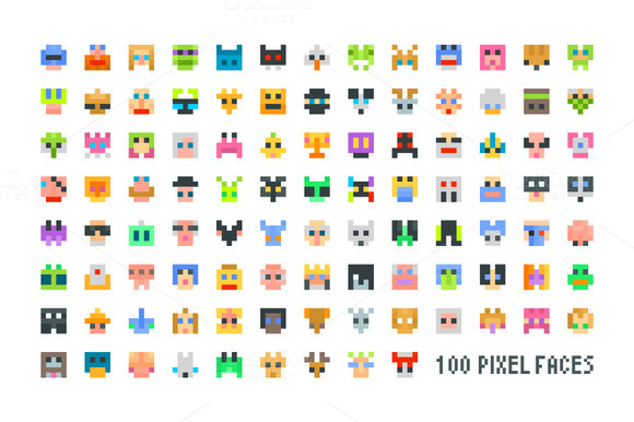 Large Set Of Pixel Faces