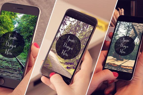 3 IPhone6 Mockups In Girls Hand