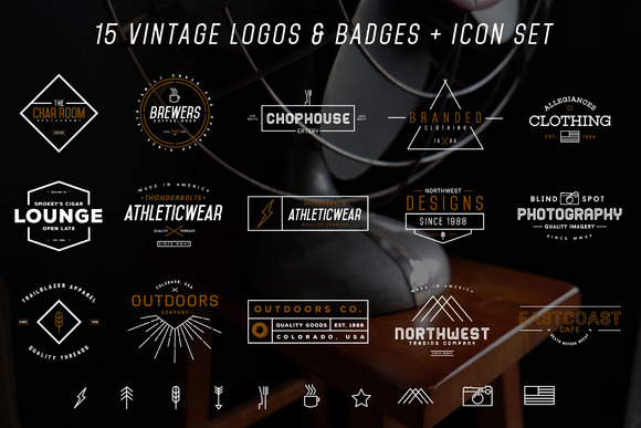 15 Vintage Logos Badges Bundle