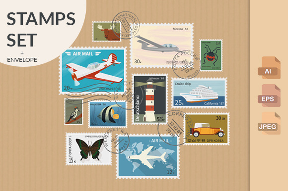 Retro Postage Stamps Collection