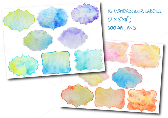 Watercolor Labels Tags