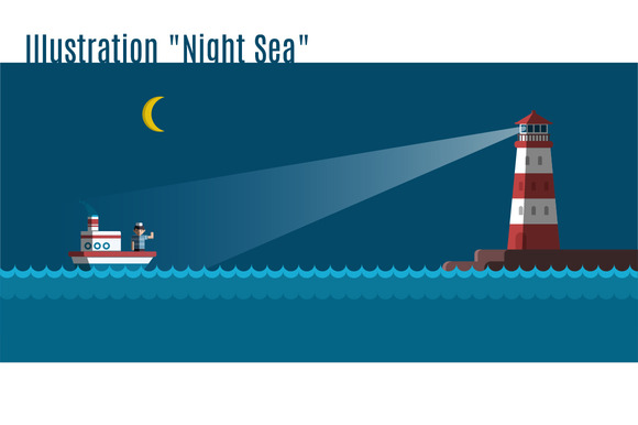 Illustration Night Sea