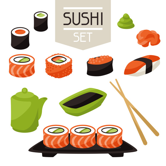 Set Of Various Sushi