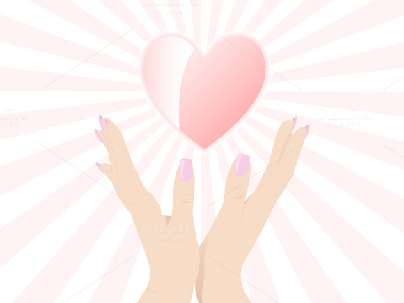 Holding A Heart Vector Illustration