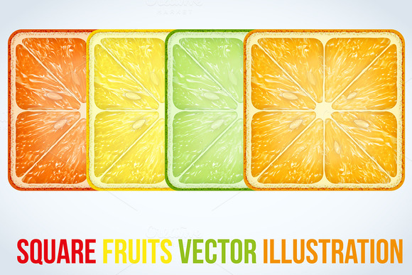 Set Of Icons Square Fruits Slices