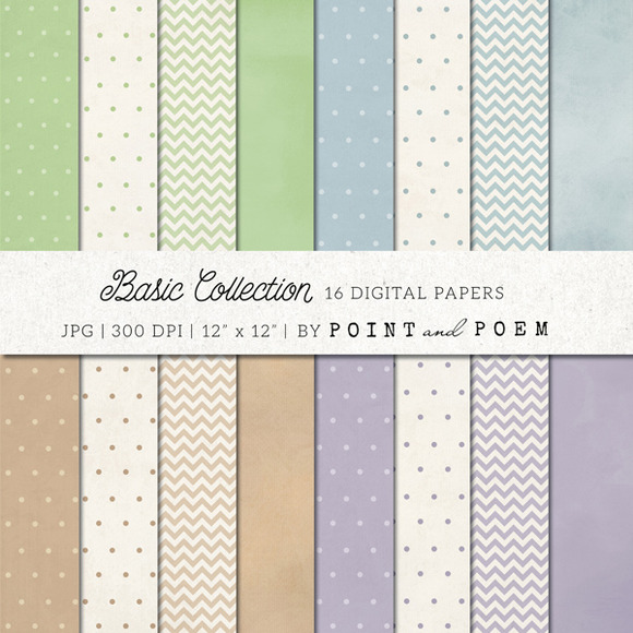 Polka Dots Chevron Digital Paper