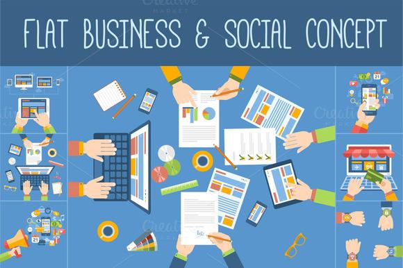 Flat Business Social Concept