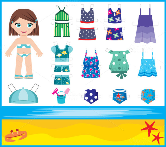 Paper Doll With Summer Set Of Clothe