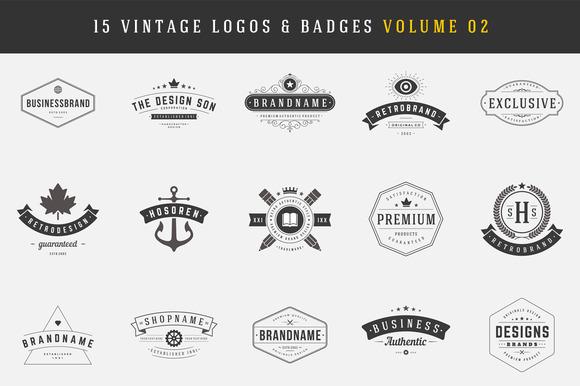 15 Retro Vintage Logotypes Badges
