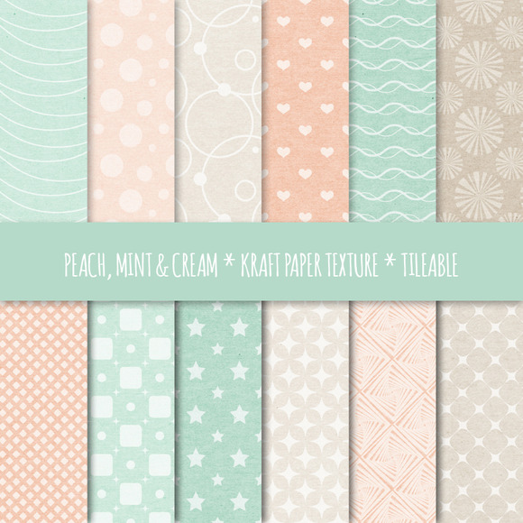 Peach Mint Seamless Patterns